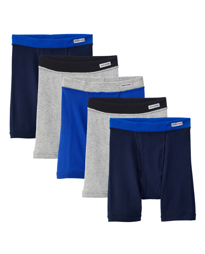Fruit of the Loom Boys' Covered Waistband Boxer Brief, 5 pack