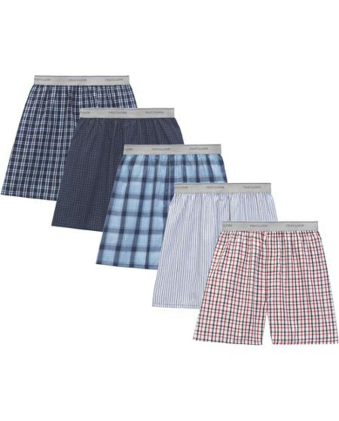 Men's 5 Pack Exposed Waistband Woven Boxers