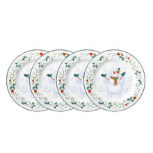 Set of 4 Snowman Salad Plates