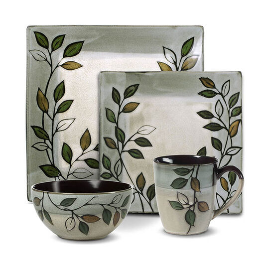 pfaltzgraff everyday rustic leaves 48 piece square dinnerware set
