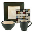 Square Green Dots Dinnerware Set
