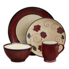 Round Red Leaves Dinnerware Set