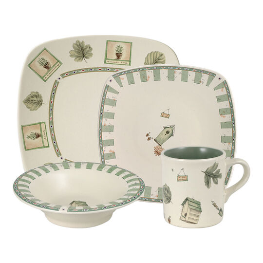 pfaltzgraff naturewood 32 piece square dinnerware set