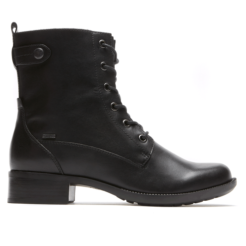 Carrie Waterproof Lace Up Boot by Rockport in Black