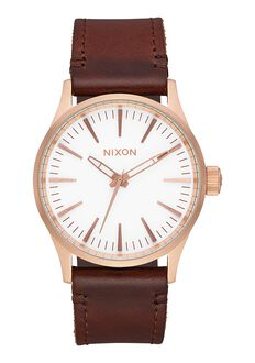 Sentry 38 Leather, Rose Gold / White / Brown