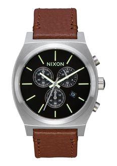 Time Teller Chrono Leather, Black / Saddle