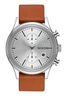 Station Chrono Leather, Silver / Tan