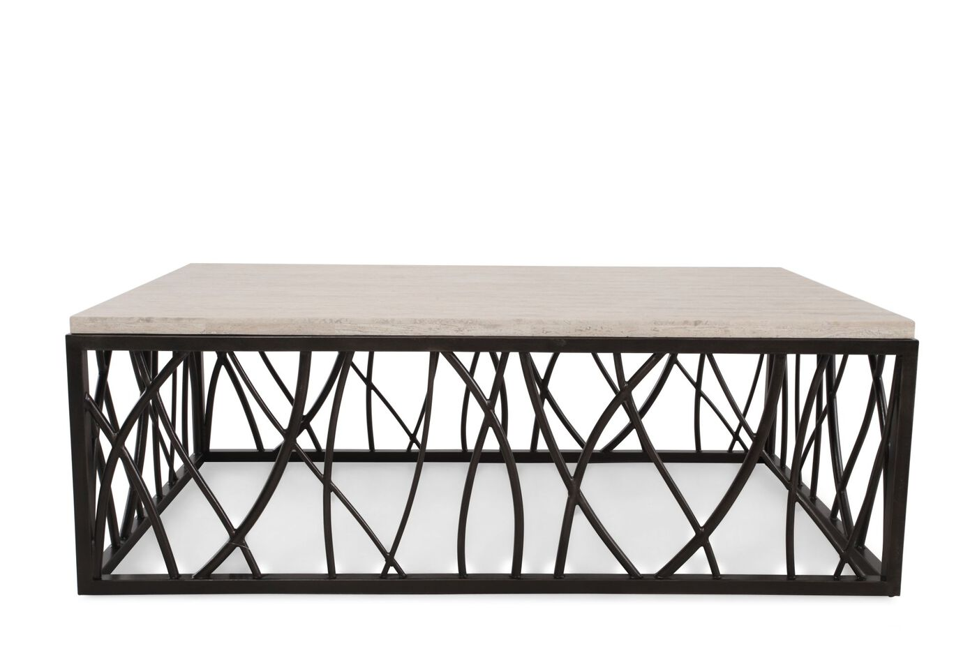 Hooker stone iron rectangle cocktail table mathis for Stone and iron coffee table