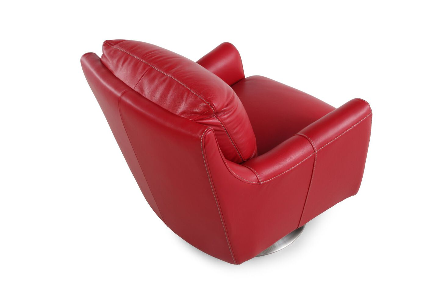 La z boy xavier red leather swivel chair mathis brothers for Xavie z