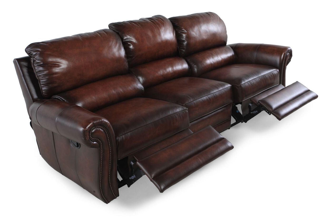 Bernhardt reese double reclining leather sofa mathis for Double leather sofa