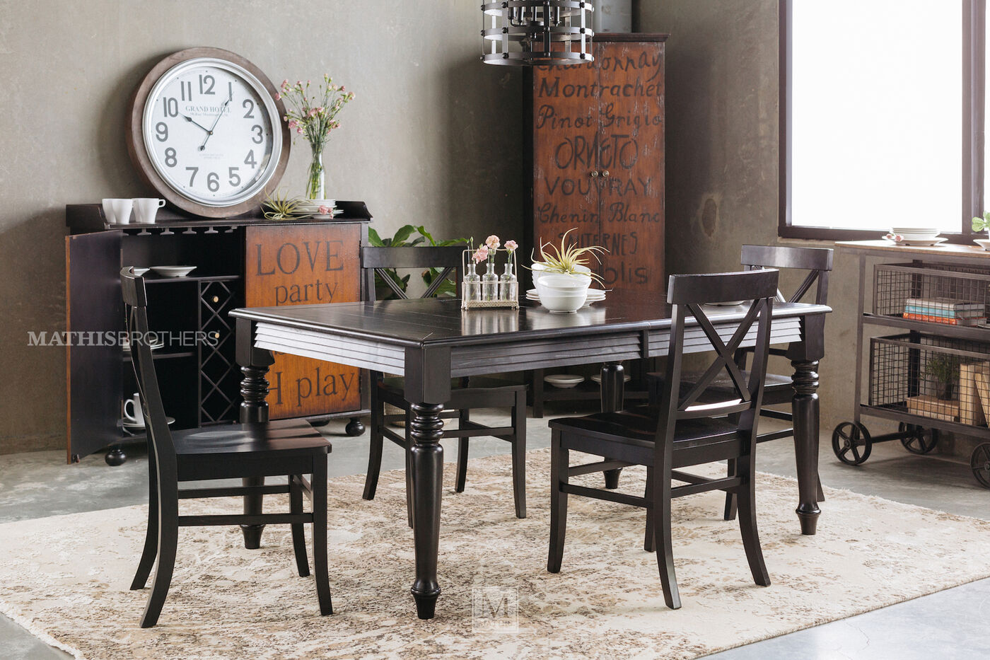 MB Home Rubbed Black Five Piece Dining Set Mathis Brothers Furniture