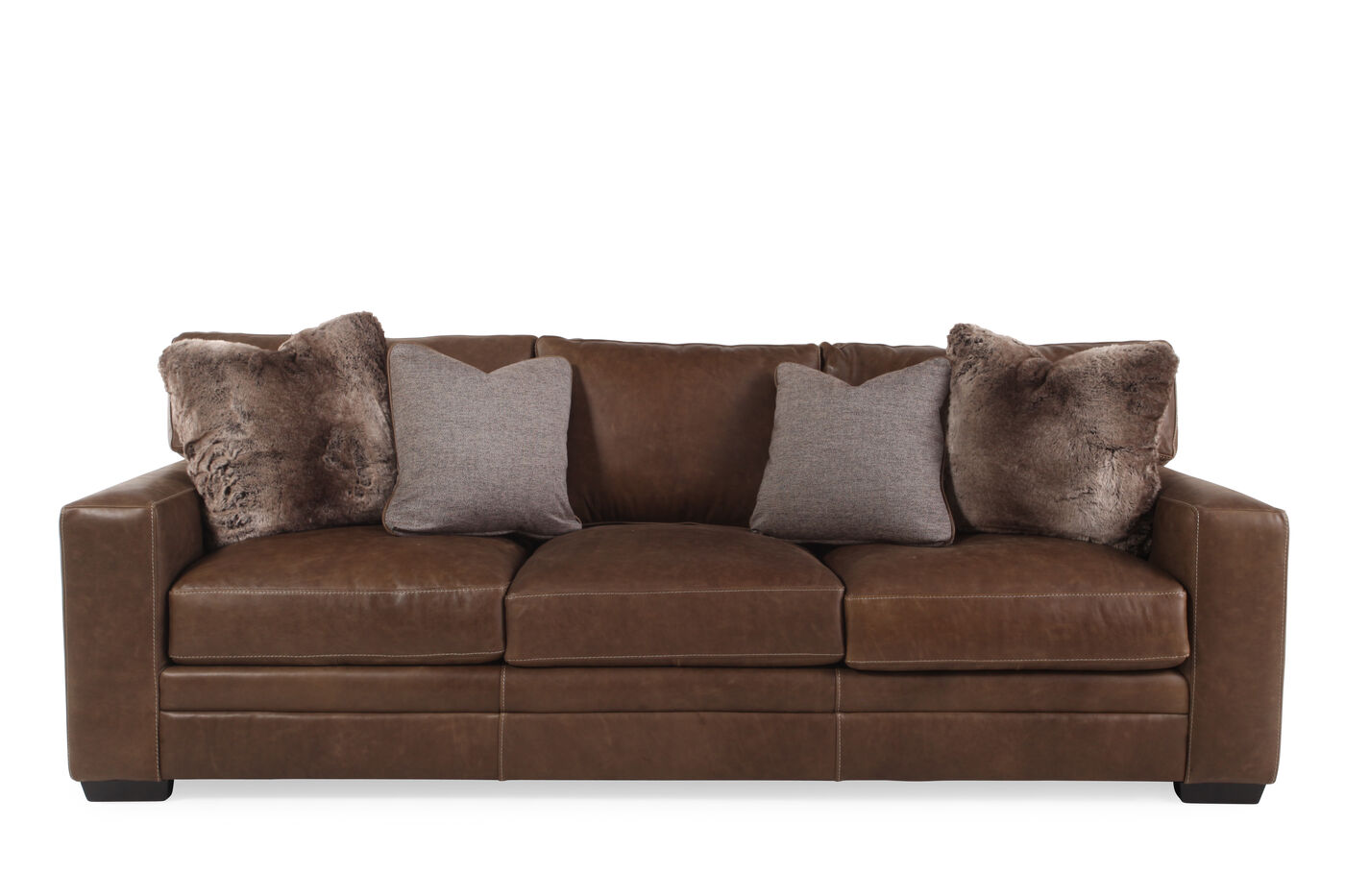Bernhardt tolbert leather sofa mathis brothers furniture for Bernhardt furniture