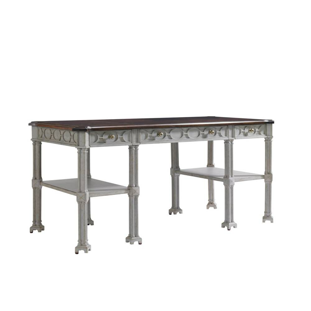 Stanley Charleston Regency Gray Linen Russell Writing Desk