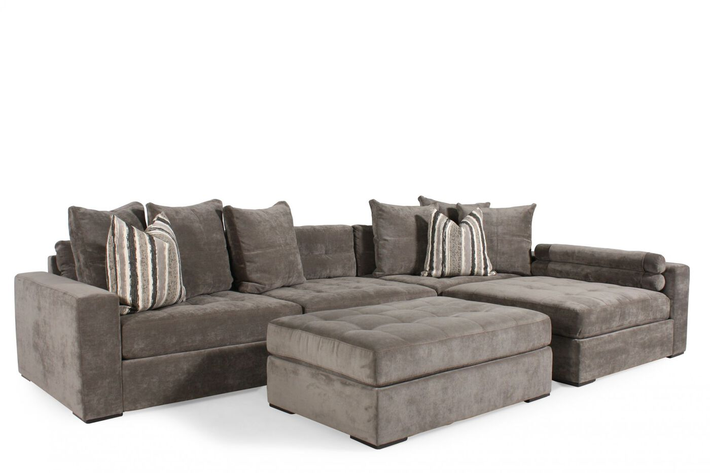 Jonathan louis noah gray sectional mathis brothers furniture for Mathis brothers living room furniture sectional sofas