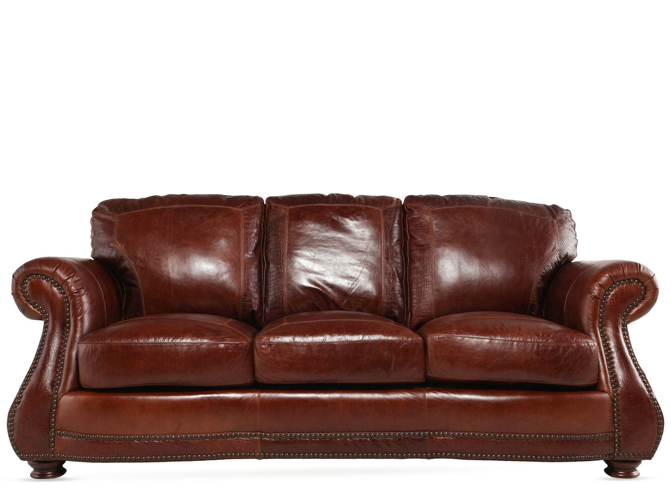 Usa leather brandy sofa mathis brothers furniture for Furniture leather sofa