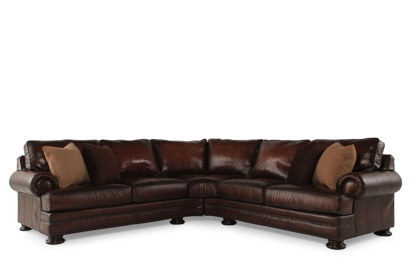 Bernhardt foster leather sectional mathis brothers furniture for Sectional furniture