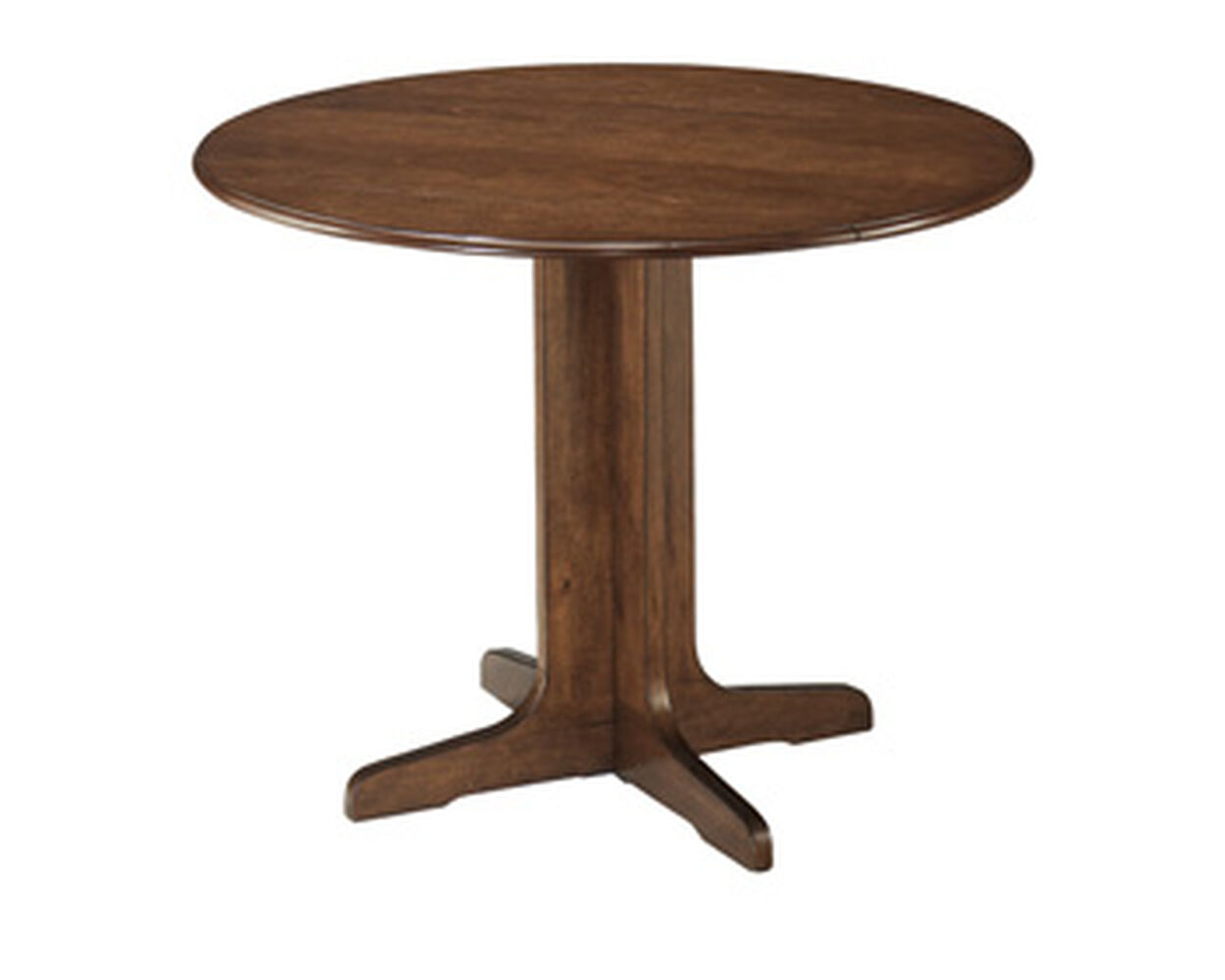 ashley stuman medium brown round drop leaf table mathis brothers furniture. Black Bedroom Furniture Sets. Home Design Ideas