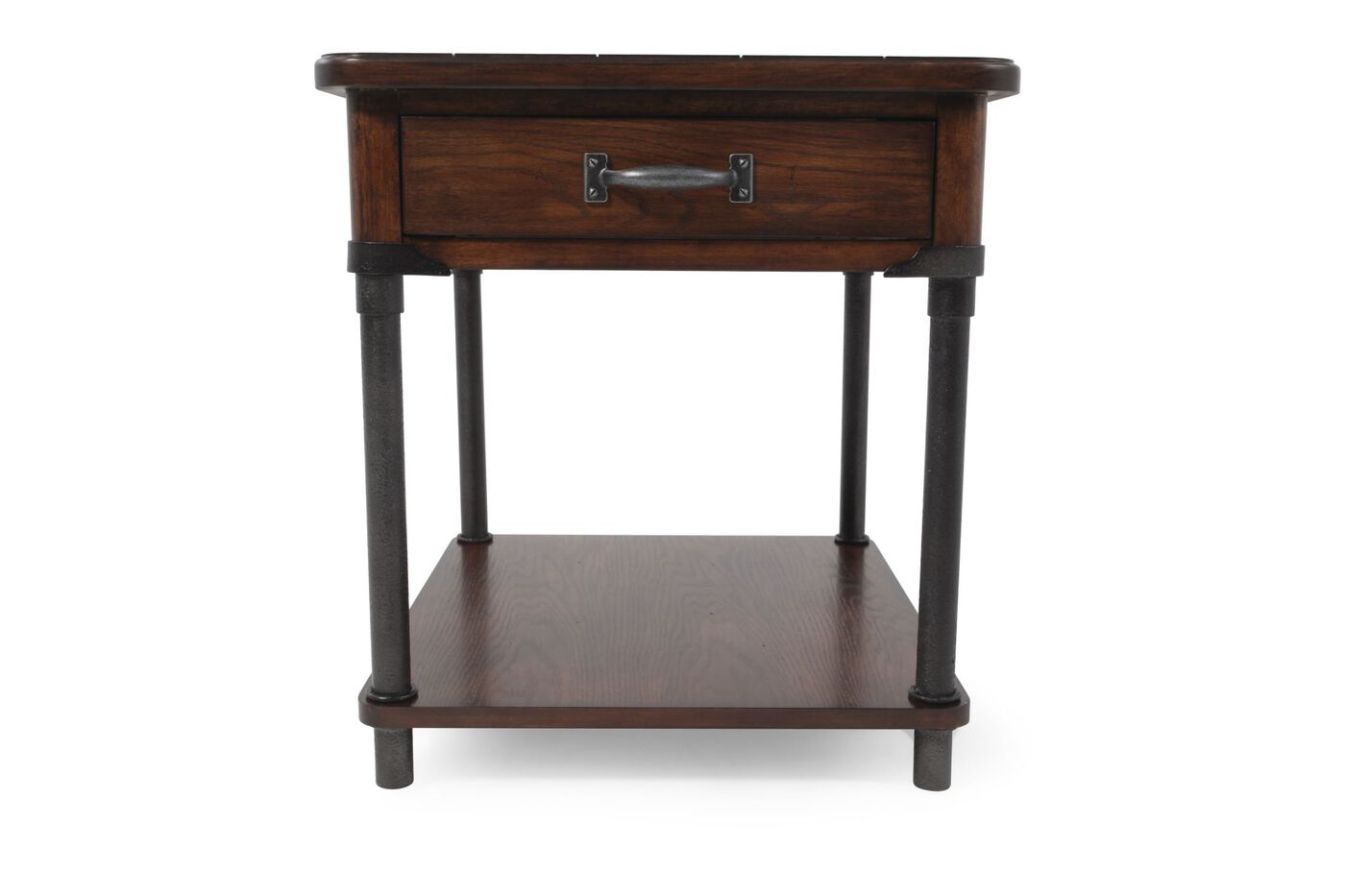 Broyhill saluda oak drawer end table mathis brothers for End tables with drawers