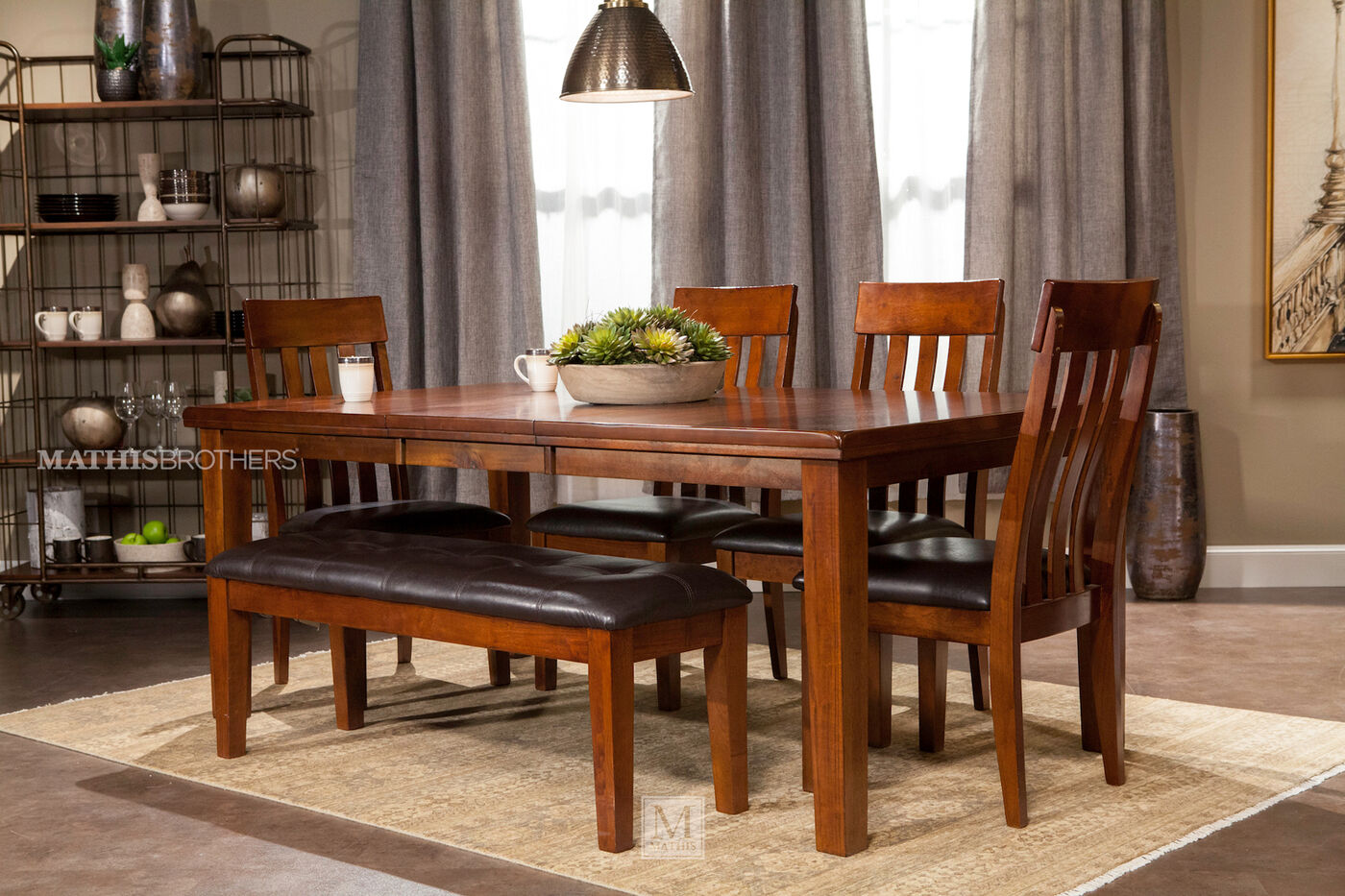 6 Piece Dining Set With Dining Bench Mathis Brothers
