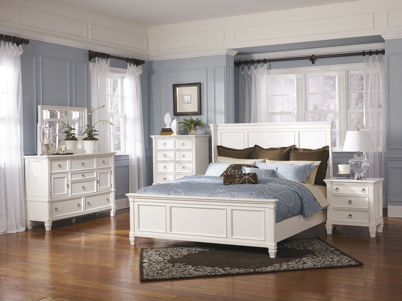 Ashley Prentice White Panel Bed | Mathis Brothers Furniture