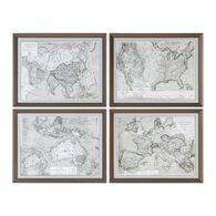 Uttermost World Maps Framed Prints S/4