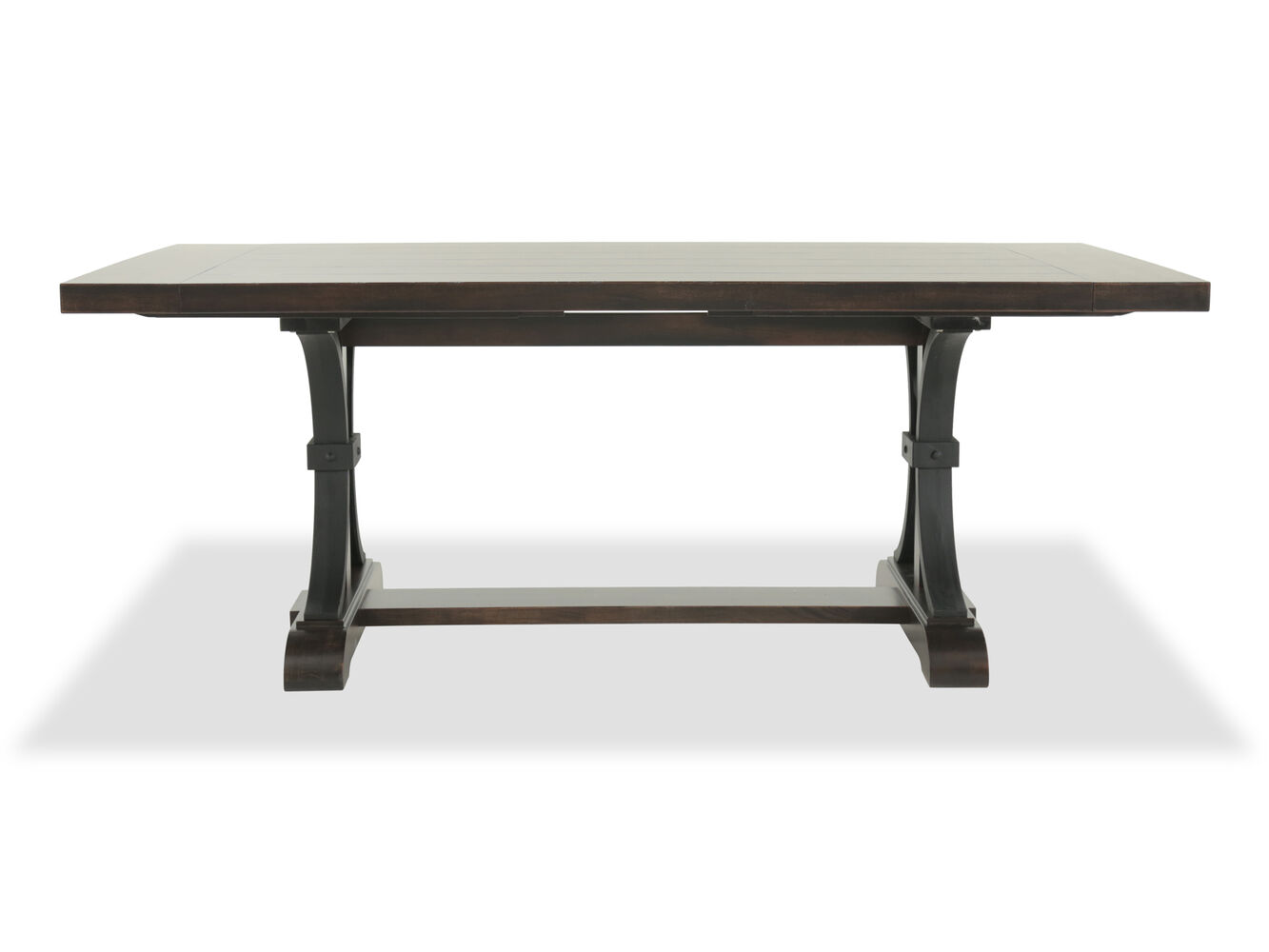 Winners only montreal dark brown 102 trestle table with for Dining room tables montreal