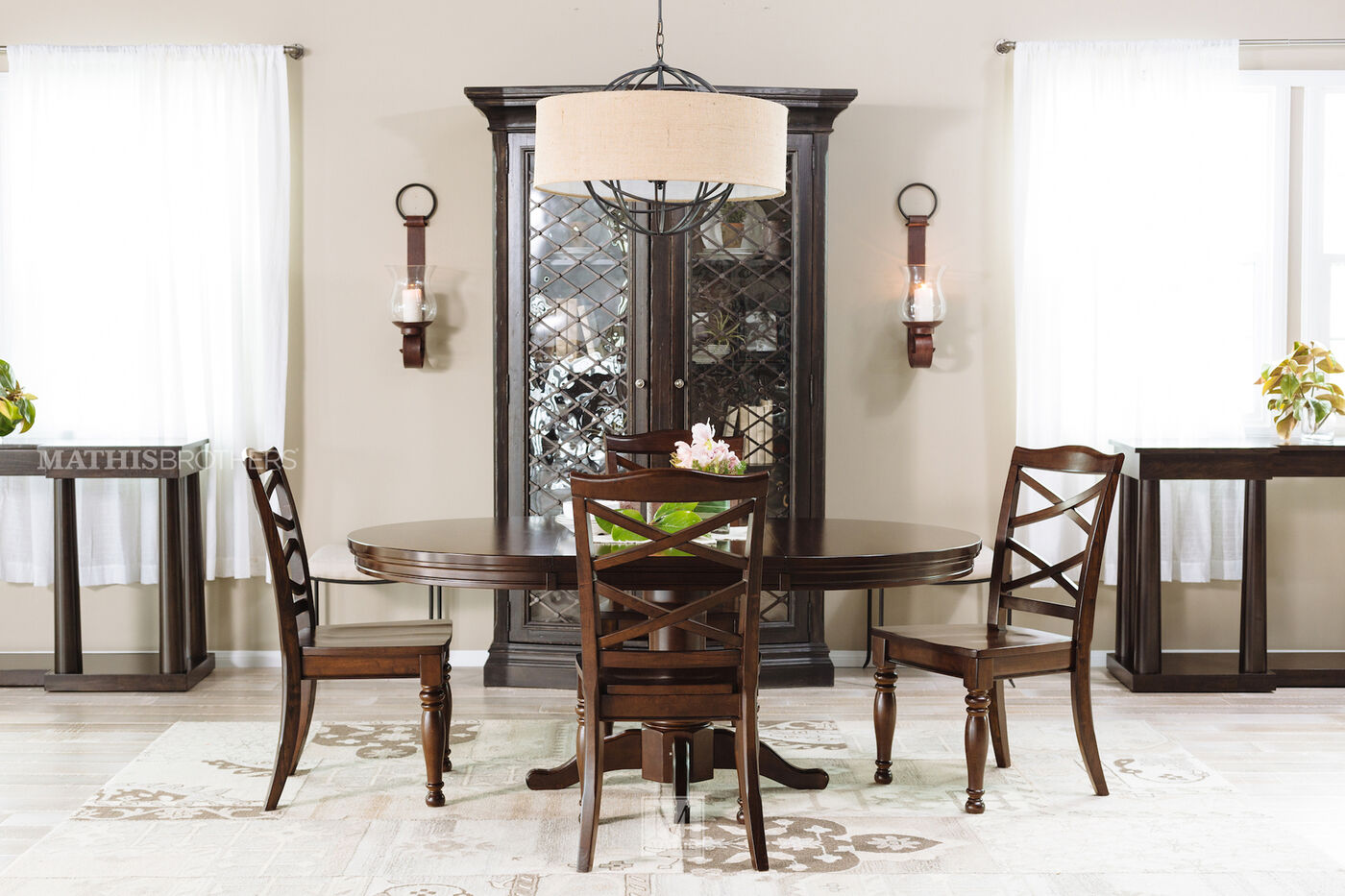 ashley porter five piece round dining set mathis brothers furniture. Black Bedroom Furniture Sets. Home Design Ideas