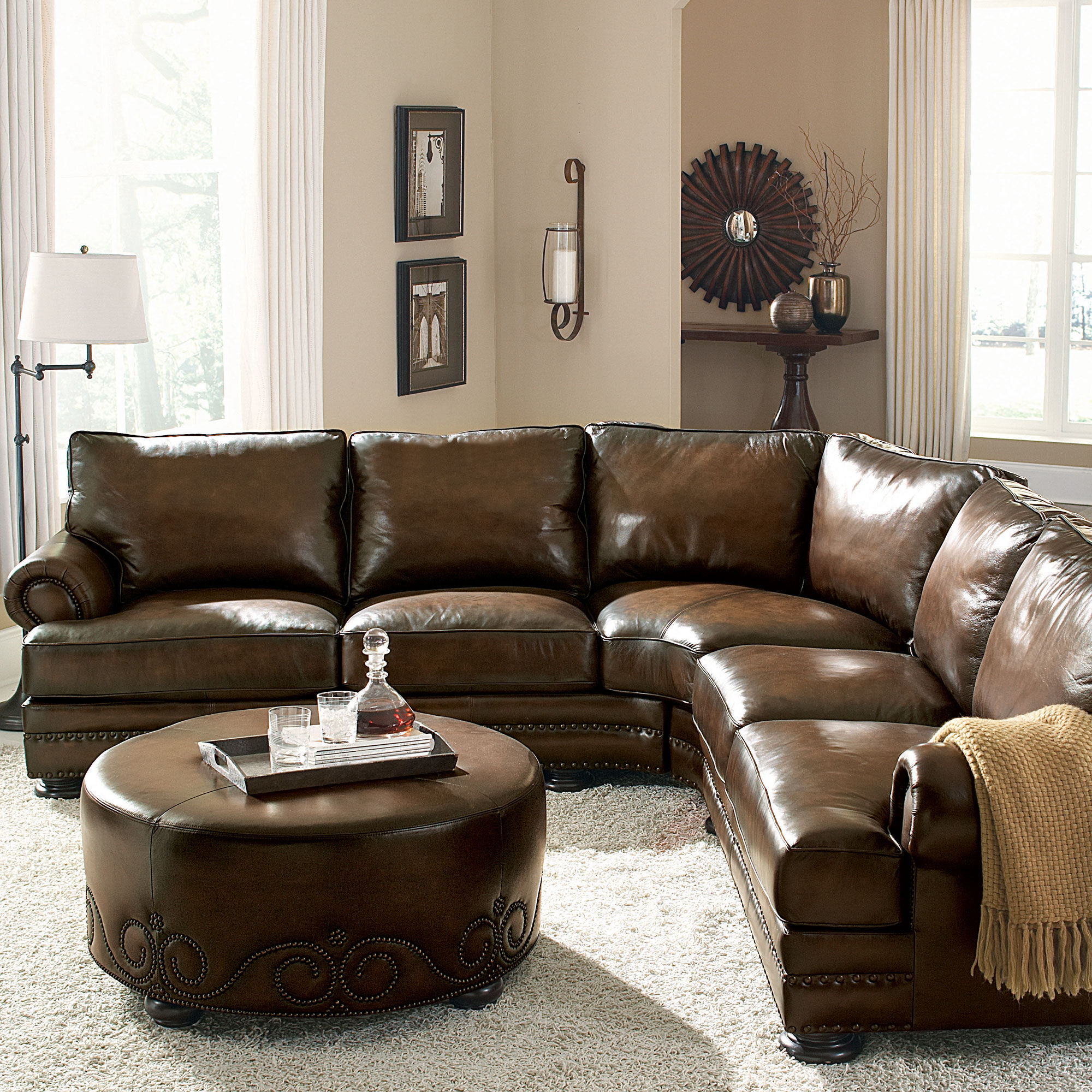 Bernhardt Foster Leather SectionalMathis Brothers Furniture