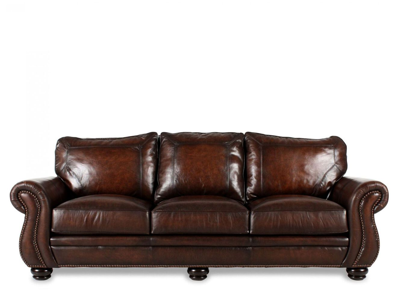Bernhardt leather sofa mathis brothers for Furniture leather sofa