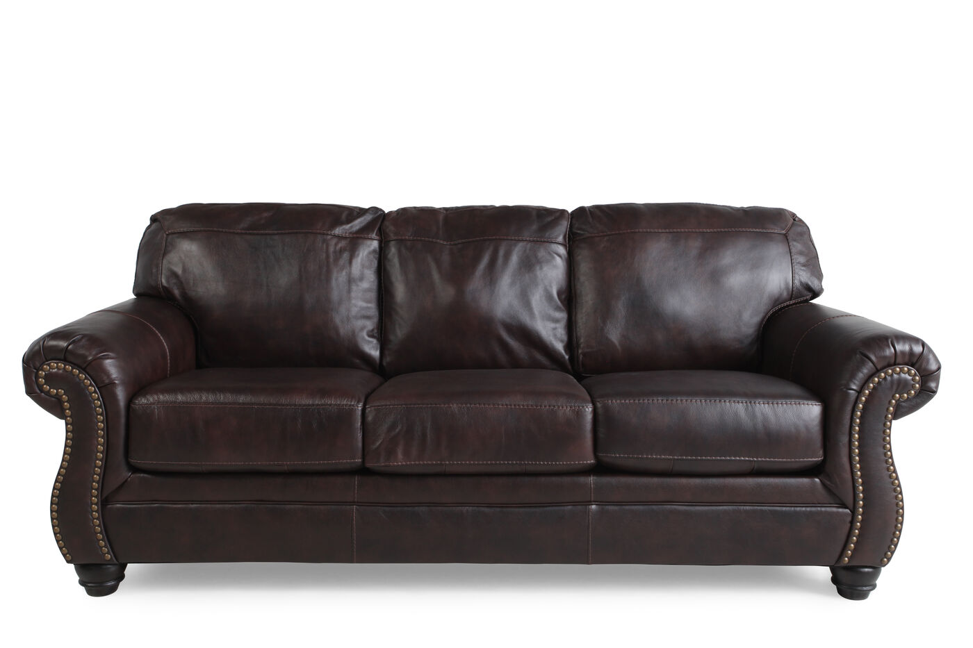 Ashley Bristan Walnut Sofa Mathis Brothers Furniture