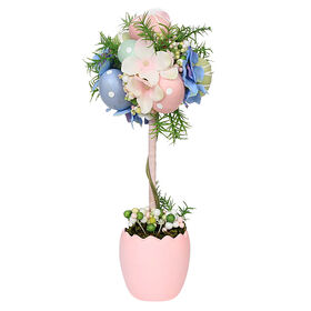 Picture of EGG TOPIARY W/PINK POT 12INCH