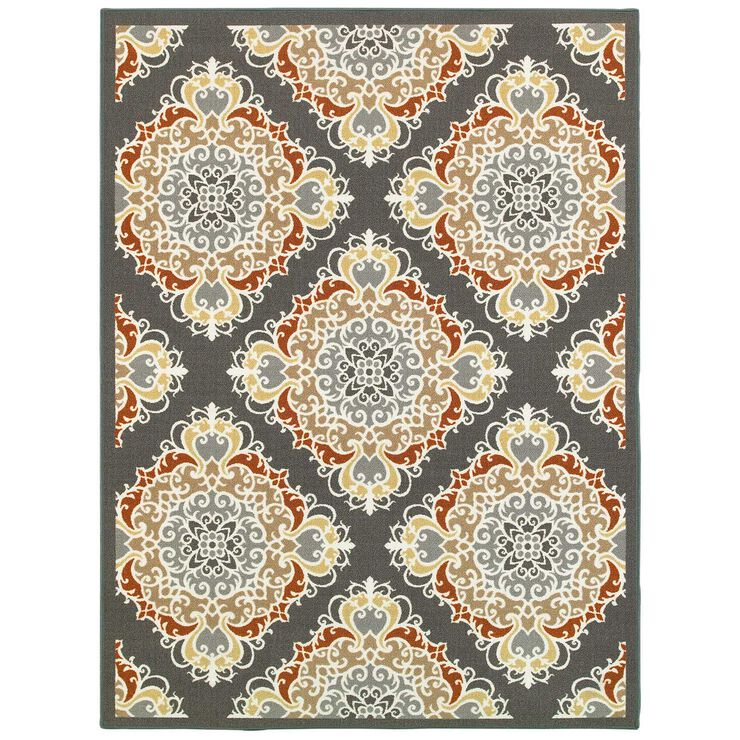 E140 Tile Grey and Red Rug- 5x7 ft.