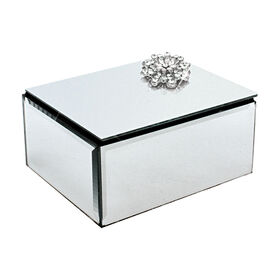 Picture of Mirrored Jewel Flower Jewelry Box- 4 x 5 x 3-in