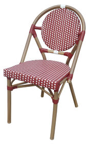 Picture of Aluminum Wicker Cafe Chair Red and White