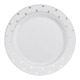Picture of 10.25-in. White Plates with Silver Dots, Set of 10