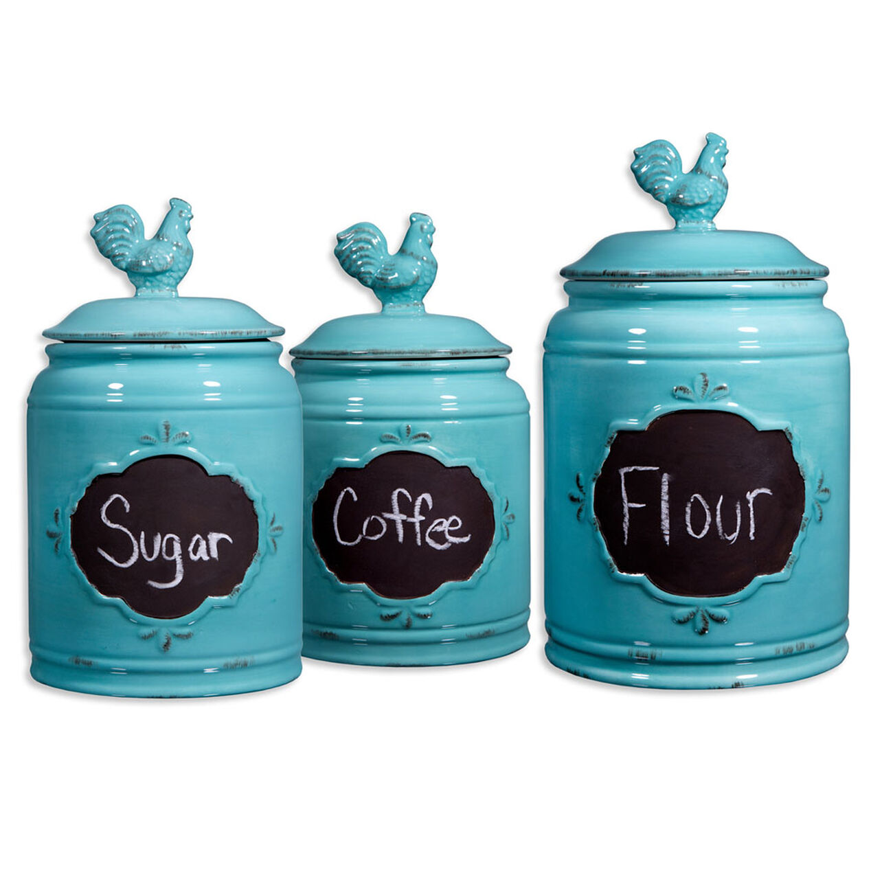 storage canisters kitchen vintage aqua rooster chalkboard canister set of 3 at home 2548