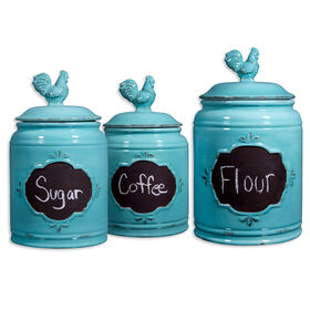 Picture of Vintage Aqua Rooster Chalkboard Canister - Set of 3