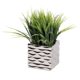 Picture of Grassy Silver Wave Container- 10 in.
