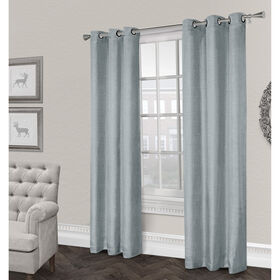 Picture of Rita Textured Grommet Curtain Panel- Ice Blue 96-in