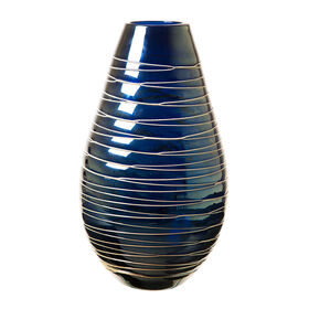 Picture of Blue and Gold Ombre Loop Vase- 7 x 13-in