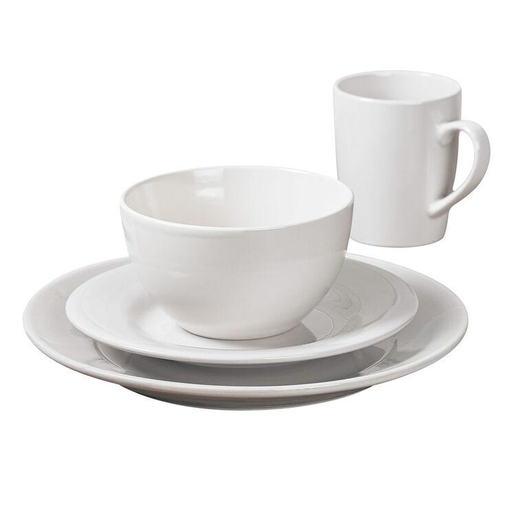 16-Piece Round Ceramic Dinnerware Set, White