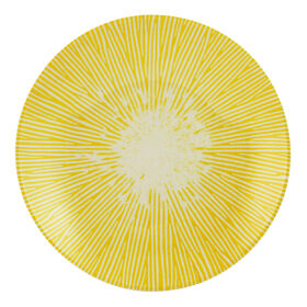 Picture of Yellow and Gray Melamine Cocktail Plate - Sunburst