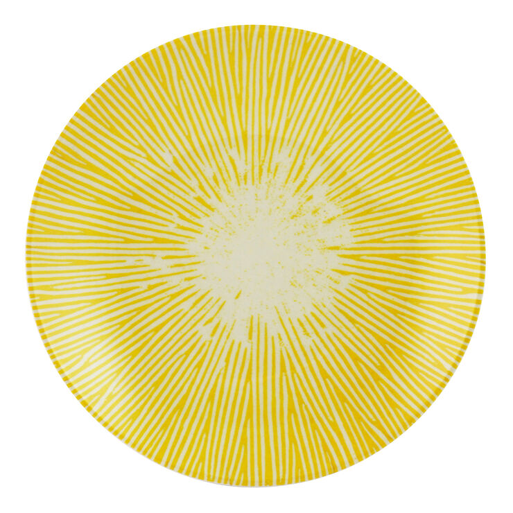 Yellow and Gray Melamine Cocktail Plate - Sunburst