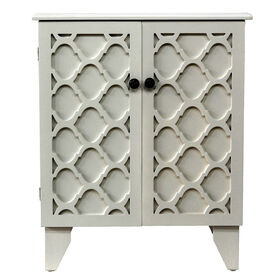 Picture of Wood Cream Two Door Accent Cabinet