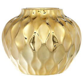 Gold Round Belly Vase- 8 in.