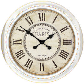 Picture of 22-in White Beaded Paris Clock
