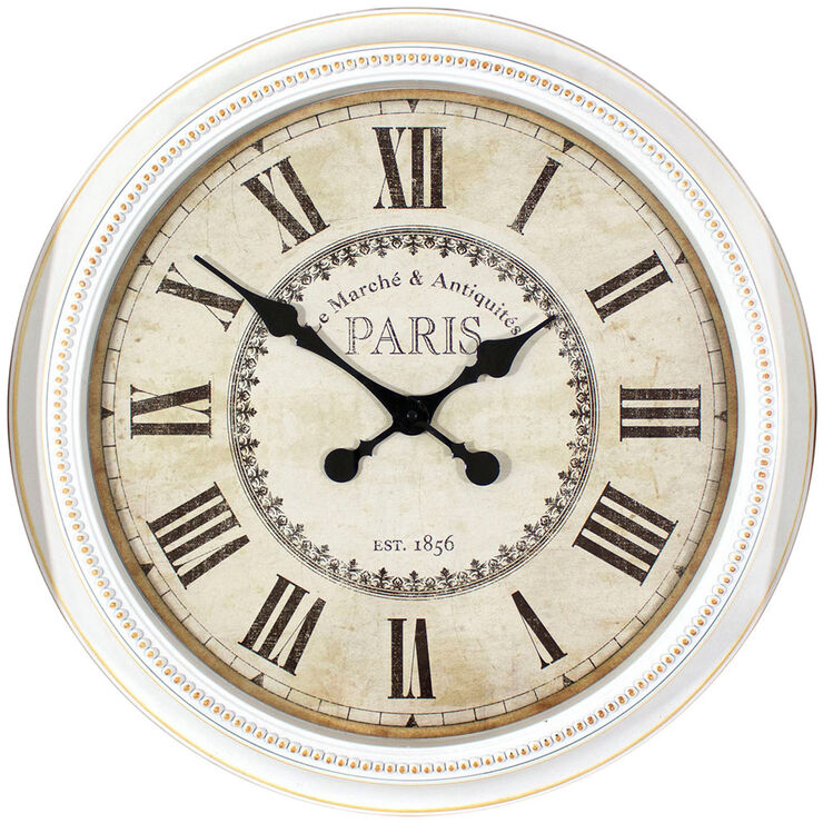 22-in White Beaded Paris Clock