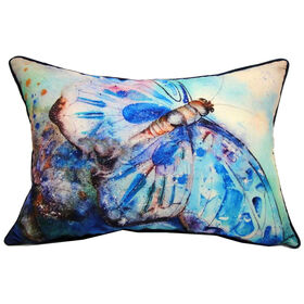 Picture of Blue and White Butterfly Throw Pillow 14X20 in.