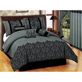 Picture of Gray Luxe Lace Comforter King
