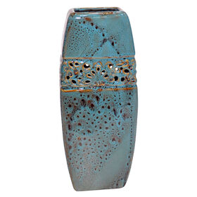 Picture of Rectangle Teal Vase with Cutouts 12-in